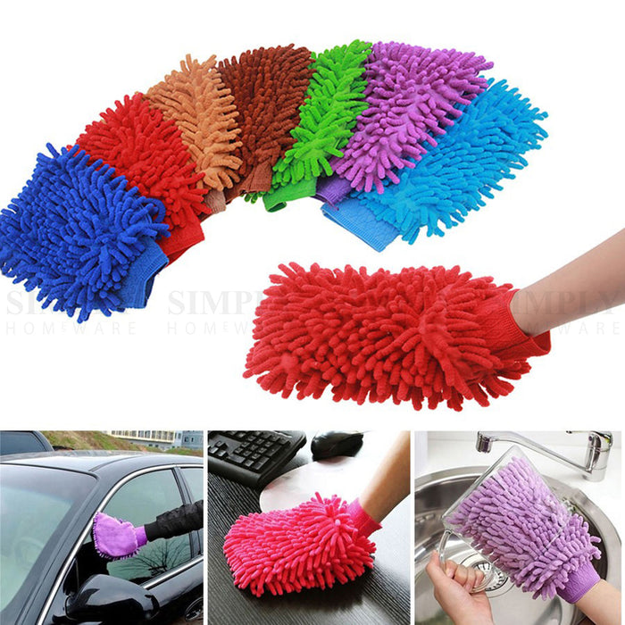 2x 2800GSM Microfibre Car Wash Mitt Drying Glove Cleaning Microfiber Super Absor - Simply Homeware