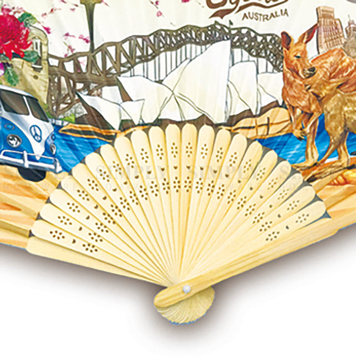 Australian Souvenirs Hand Holding Fans Chinese Bamboo Wooden Paper Aussie Gift - Simply Homeware