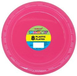 Solid Colour Party Plasticware - Entire Set Hot Pink, Party Supplies - Meteor, Simply Homeware - 7