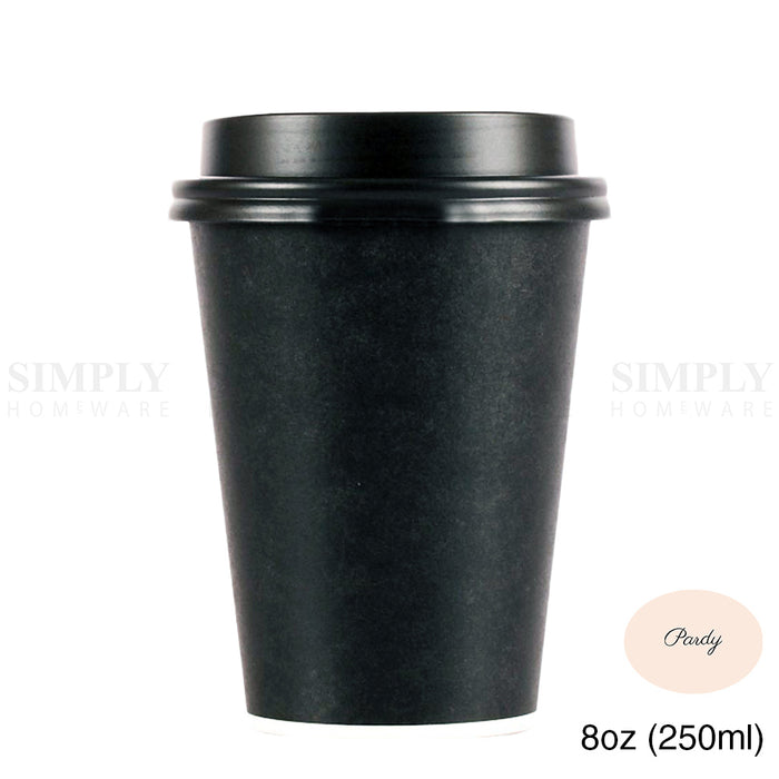 Pardy Disposable Coffee Cups 8oz 12oz 16oz Takeaway Paper Single Wall Black Bulk - Simply Homeware
