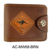 Australian Souvenirs Mens Brown Genuine Leather Bifold Card Holder Aussie Gift - Simply Homeware