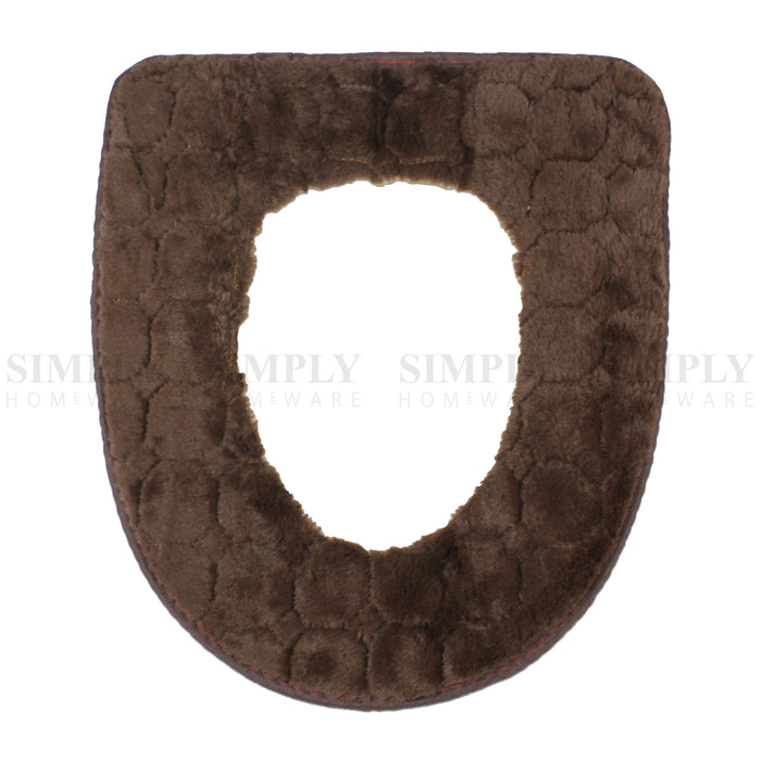 Toilet Seat Cover Soft Bathroom Warmer Bath Covers Seat Lid 2pcs Brown, Bathmats, Rugs & Toilet Covers - Simply Homeware, Simply Homeware - 11