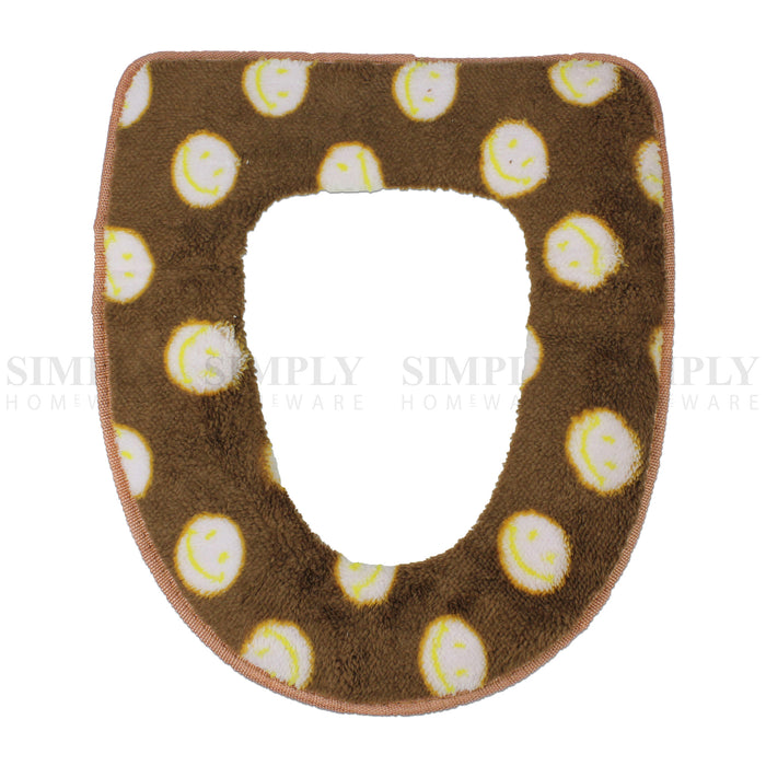 Toilet Seat Cover Soft Bathroom Warmer Bath Covers Seat Lid 2pcs Brown with dots, Bathmats, Rugs & Toilet Covers - Simply Homeware, Simply Homeware - 4