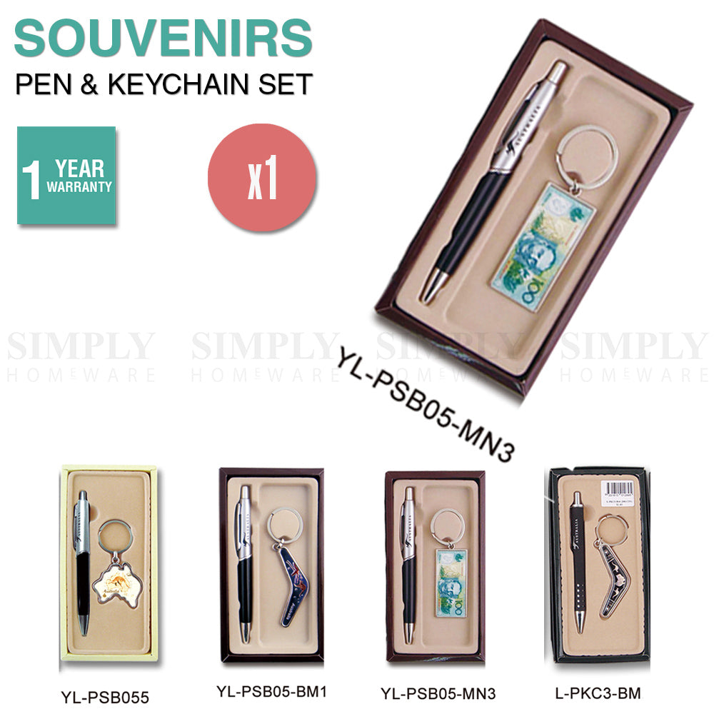 Australian Souvenirs Pen and Keychain Set Keyring Bulk Aussie Gift $100 Money - Simply Homeware