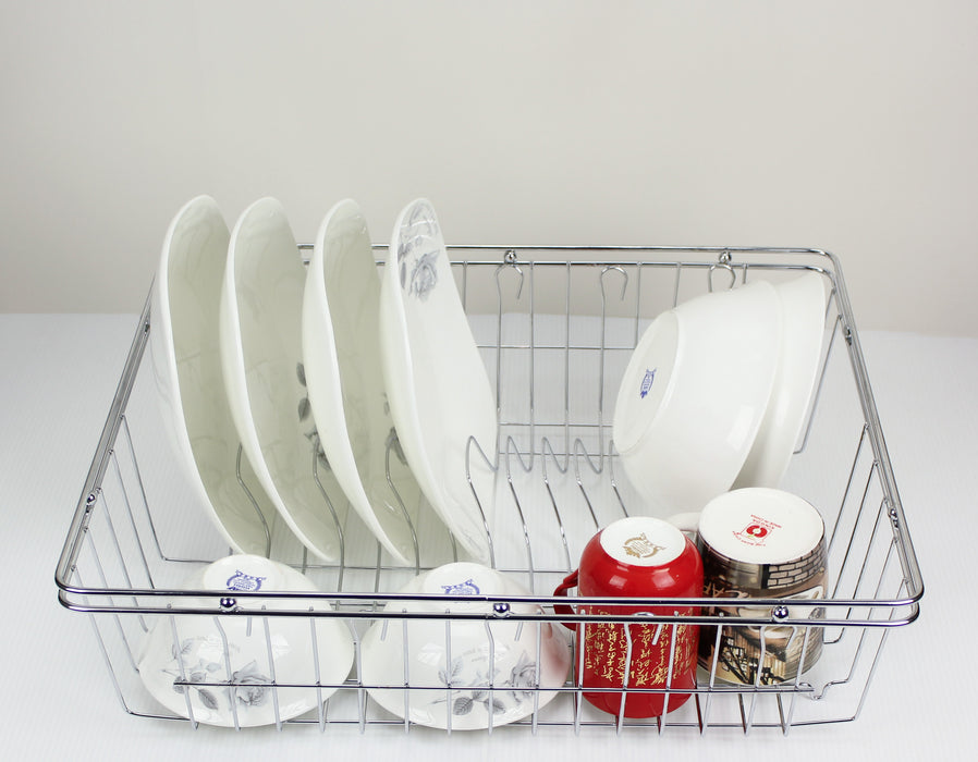 Stainless Steel Dish Rack Chrome Racks Dishrack Drying Cutlery Drainer Tray - Simply Homeware