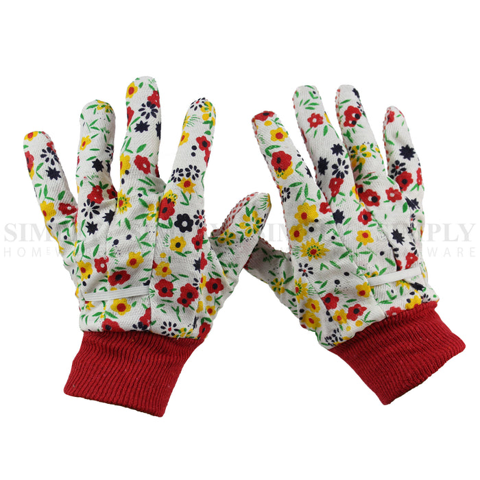 Bulk 12 Pair Safety Work Garden Gloves Cotton Extra Grip White Plain - Simply Homeware