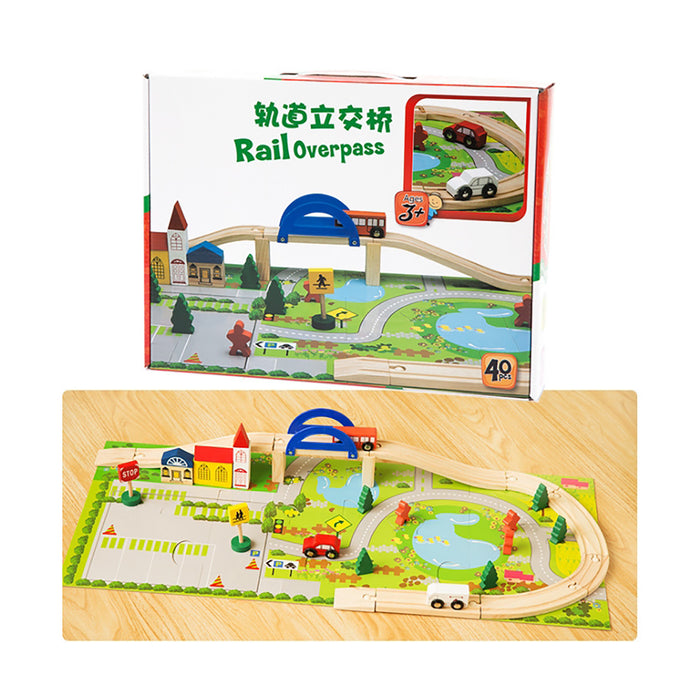Truboo Kids Railway Set Toy Overpass Traffic Cars Building Blocks Wooden 40Pcs