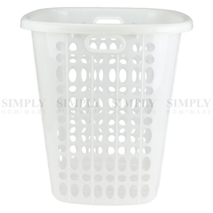 Laundry Basket Bin Plastic Baskets Washing Hamper Bag White Blue Pink Bathroom - Simply Homeware