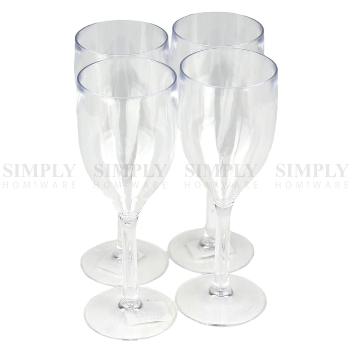 12-48x Plastic Wine Glasses Champagne Martini Drinking Glass Bulk Clear Reusable