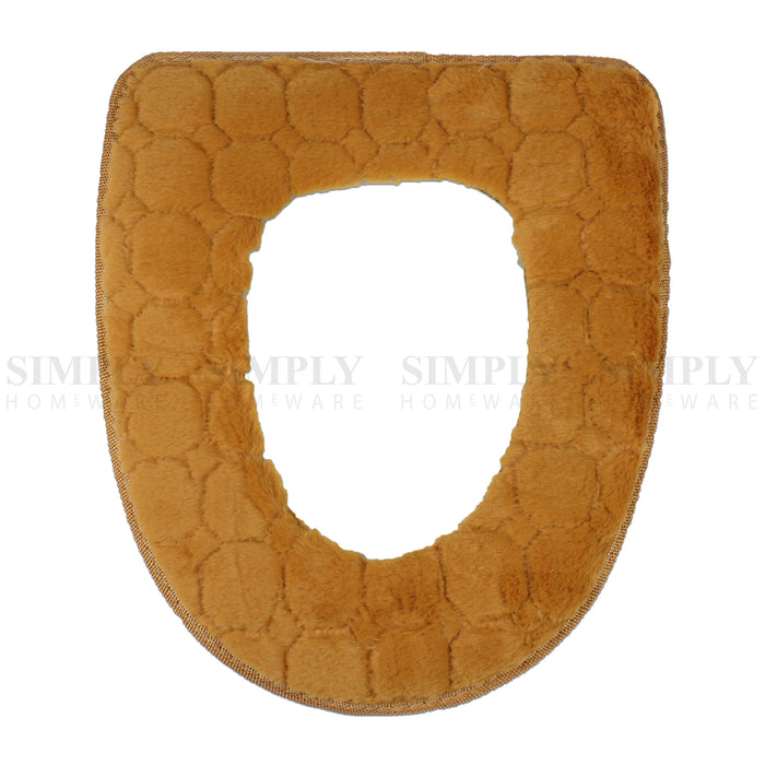 Toilet Seat Cover Soft Bathroom Warmer Bath Covers Seat Lid 2pcs Beige, Bathmats, Rugs & Toilet Covers - Simply Homeware, Simply Homeware - 9