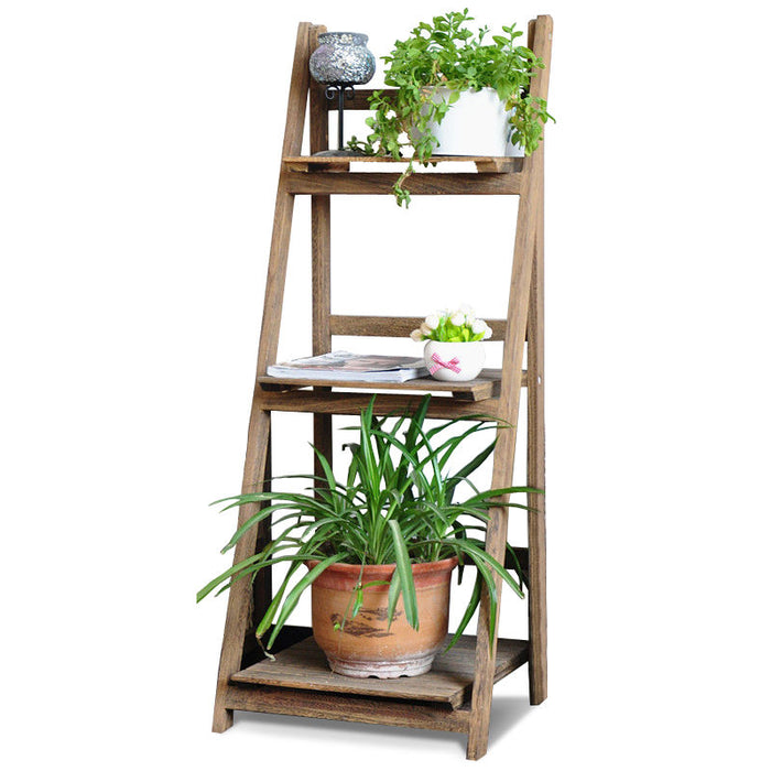 Wooden Ladder Shelf 3 Tier Plant Flower Storage Shelves Multi CD Book Folding