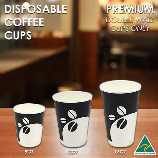 Coffee Cups Disposable Paper 8oz 12oz 16oz Double Wall Drink Tea Water Takeaway - Simply Homeware