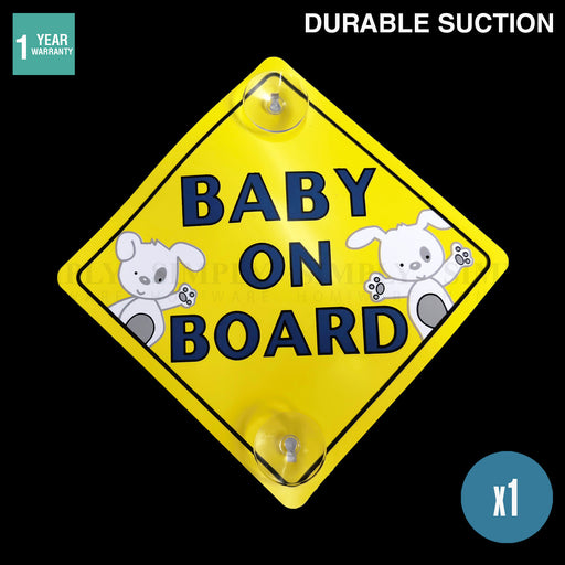 Baby on Board Car Sign Suction Cup Decal Yellow Kids Family Safety In Sticker - Simply Homeware