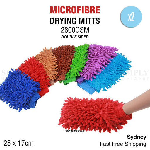 2x 2800GSM Microfibre Car Wash Mitt Drying Glove Cleaning Microfiber Super Absor