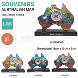 Australian Souvenirs Map Clock Movement Beside Foil Epoxy Aussie Gift Bulk AU