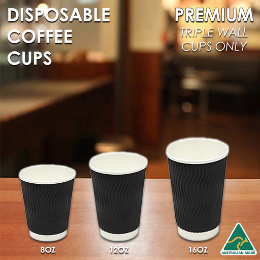 Coffee Cups Disposable Paper 4oz 8oz 12oz 16oz Triple Wall Drink Water Takeaway - Simply Homeware