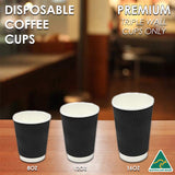 Coffee Cups Disposable Paper 8oz 12oz 16oz Triple Wall Drink Tea Water Takeaway