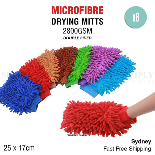 6x 2800GSM Microfibre Car Wash Mitt Drying Glove Cleaning Microfiber Super Absor