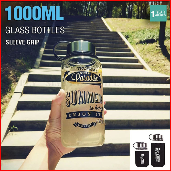 Glass Water Bottle 1L 1000ml BPA Free Sports Tea Crystal Juice Drinking Bottles - Simply Homeware