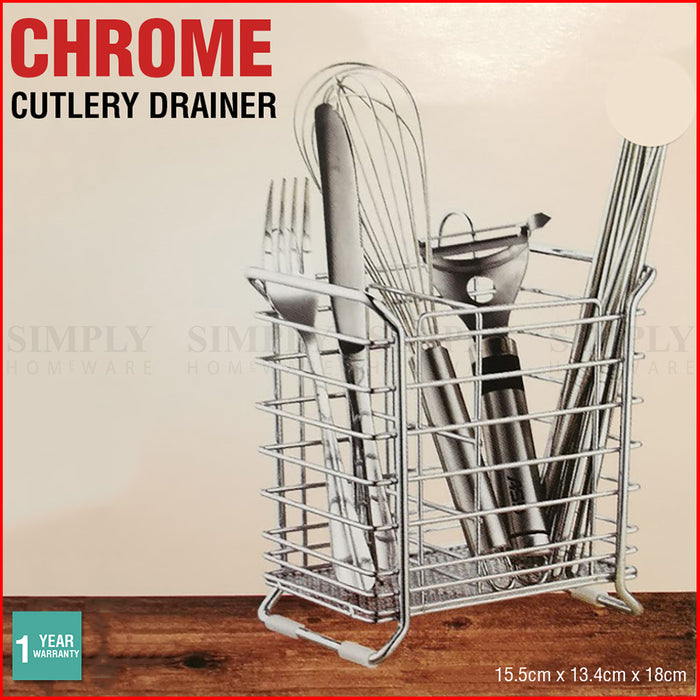 Cutlery Drainer Chrome Holder Rack Utensil Metal Racks Drying Kitchen Sink Caddy - Simply Homeware