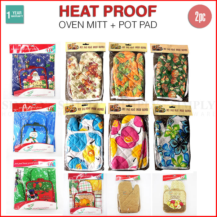 Oven Mitts Gloves Pot Holder Set Heat Proof Resistant BBQ Cooking Double Cotton - Simply Homeware