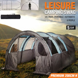 Camping Swag Tent Double 6 Person Hiking Canvas Waterproof Portable Poles Deluxe