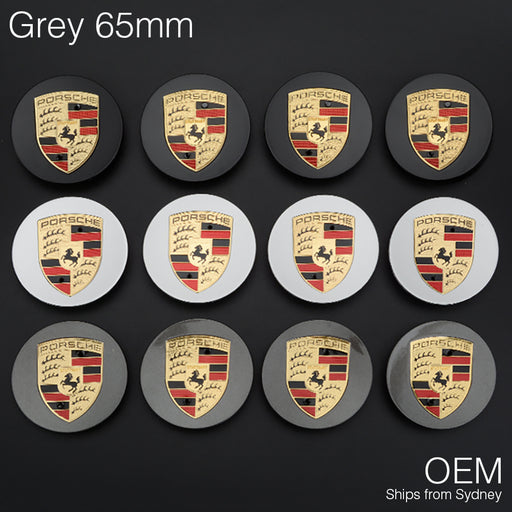 1x Grey 65mm Porsche Centre Wheel Caps OEM Logo Hub Emblem Tyre Cover Macan 95B - Simply Homeware