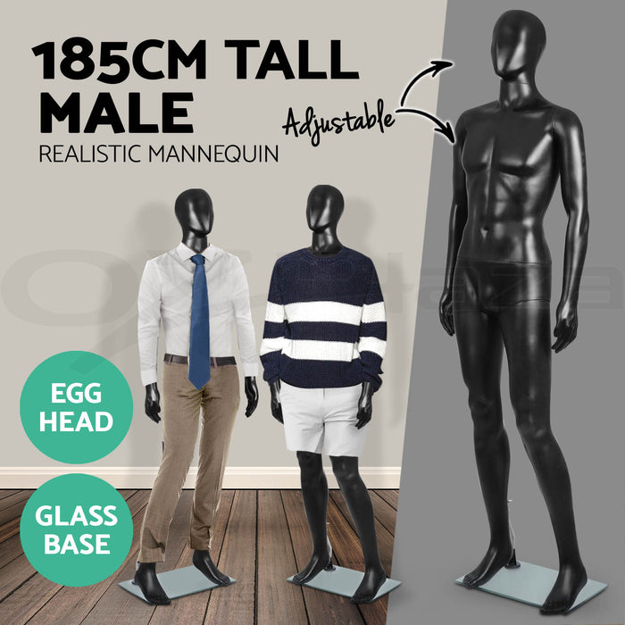 Full Body Mannequin Female Male Clothes Display Torso White Black Adjustable 185 - Simply Homeware