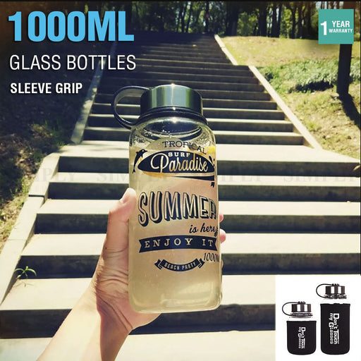 Glass Water Bottle 1L 1000ml BPA Free Sports Tea Crystal Juice Drinking Bottles