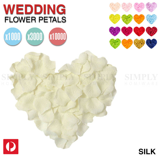 Wedding Flower Petals Artificial Rose Dried Fake Silk White Red Pink Blue Bridal - Simply Homeware