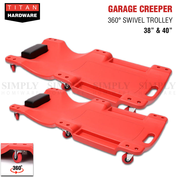 Garage Creeper Mechanic Workshop Trolley 360 Swivel Wheels Castor Car Roller Red - Simply Homeware