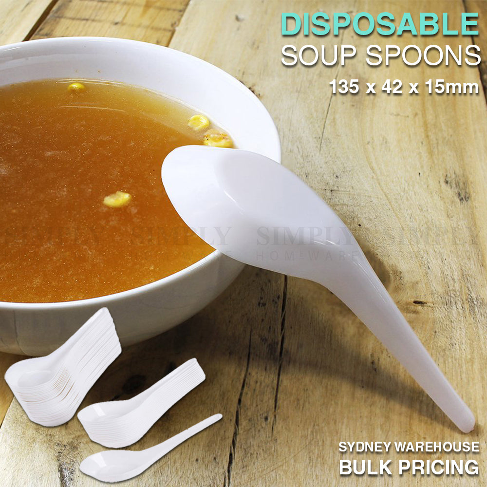Disposable Plastic Soup Spoons White Cutlery Bulk Asian Chinese Takeaway 135mm - Simply Homeware