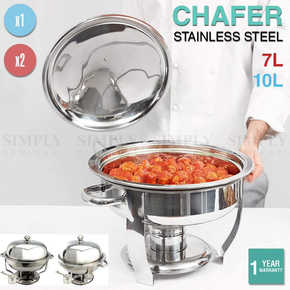 Stainless Steel Chafing Dishes Bain Marie Commercial Round Set Food Warmer Lid - Simply Homeware
