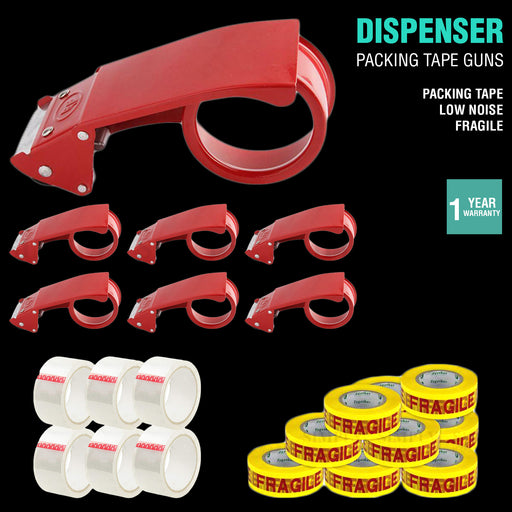 Packing Tape Dispenser Cutter Gun Packaging 48mm Box Low Noise Sticky Fragile - Simply Homeware