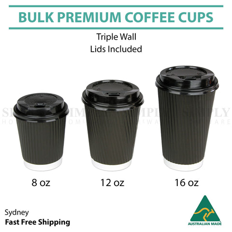 Disposable Coffee Cups 8oz 12oz 16oz Takeaway Paper Triple Wall Take Away Bulk