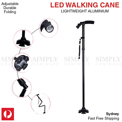 Walking Stick Cane Folding With Light LED Strap Handle Black Metal Adjustable - Simply Homeware