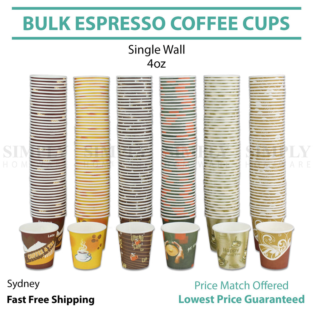 Disposable Coffee Espresso Paper Cup 4oz Shot Expresso Tasting Wall 120ml Bulk - Simply Homeware