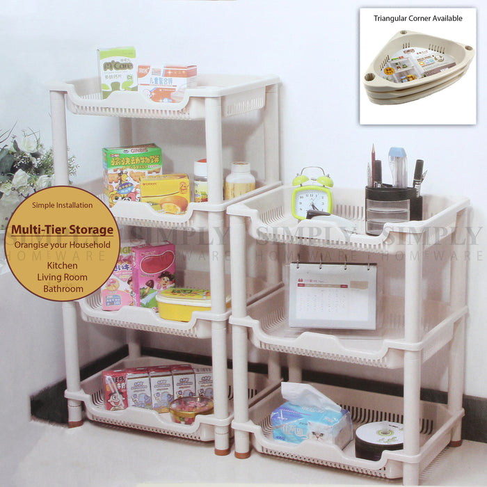 Shower Shelf Caddy Corner Shelves Storage Rack Organiser Kitchen Bathroom , Racks, Holders - Unbranded, Simply Homeware - 1