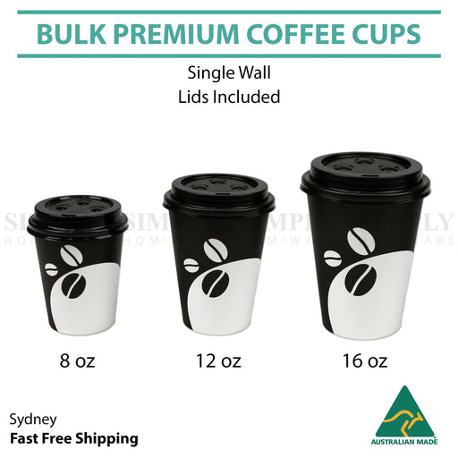 Disposable Coffee Cups 8oz 12oz 16oz Takeaway Paper Single Wall Take Away Bulk - Simply Homeware