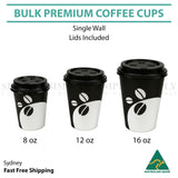 Disposable Coffee Cups 8oz 12oz 16oz Takeaway Paper Single Wall Take Away Bulk