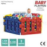 Baby Playpen Toddler Child Kids Play Pen Plastic Pit Fence Outdoor Fun 6 Panels
