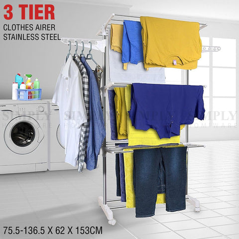 Clothes Line Airer Rack Indoor 3 Tier Steel 20m Drying Space Foldable