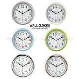 Retro Wall Clock Silent Clocks Silver Modern Kitchen Vintage Large Non Ticking Blue Green , Clocks - Eastern Ocean, Simply Homeware - 1