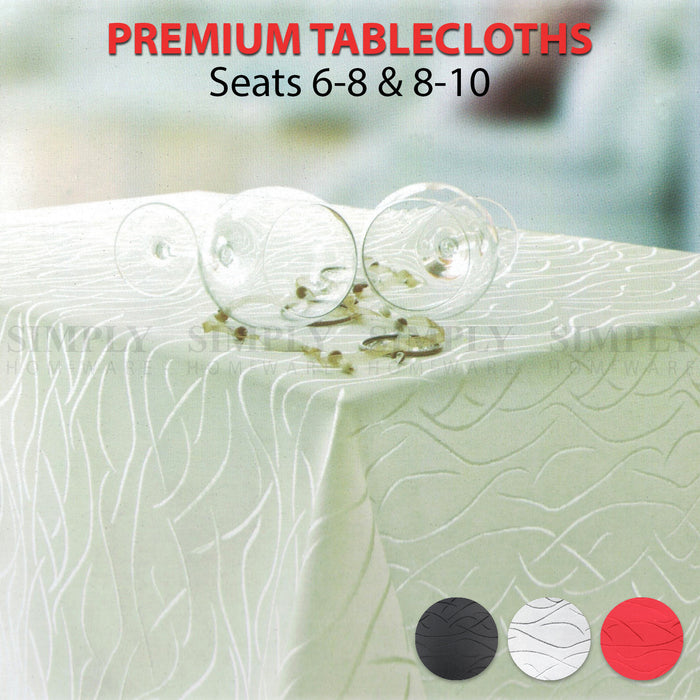 Premium Tablecloth Rectangle Table Cloth White Red Black Silver Large Linen 8 10 - Simply Homeware