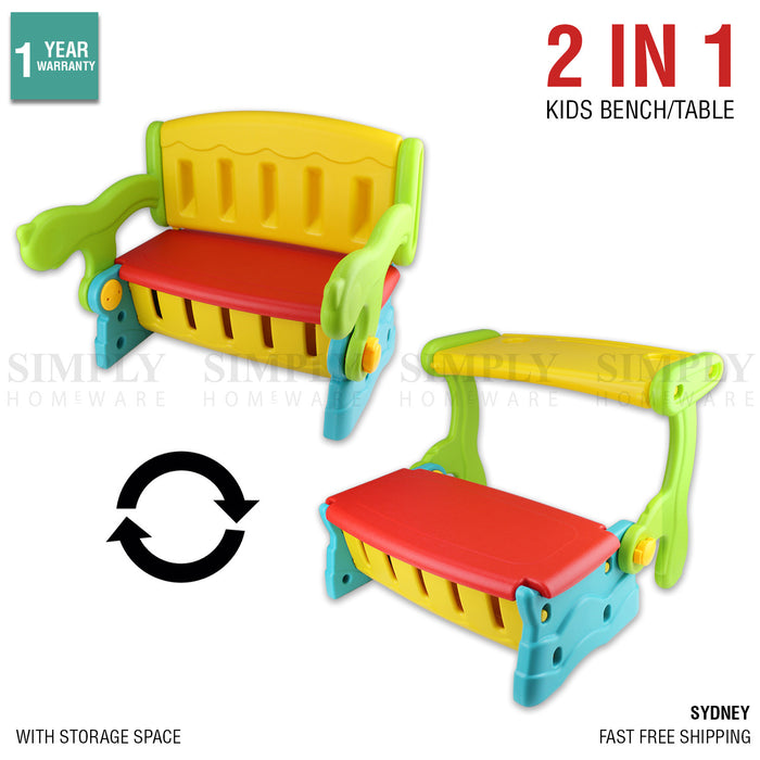Kids Bench Table 2 In 1 Seat Chair Storage Outdoor Indoor Play Plastic Lounge