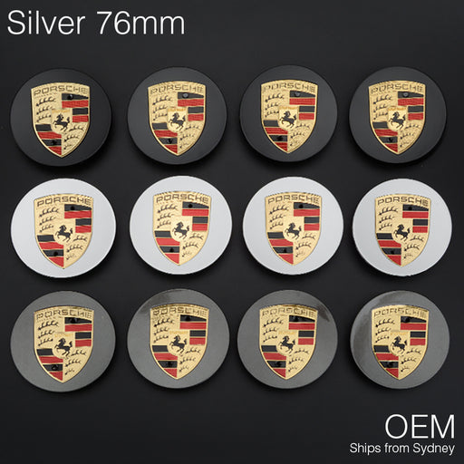 1x Silver 76mm Porsche Centre Wheel Caps OEM Logo Cayenne 92A Boxster Cayman 911 - Simply Homeware