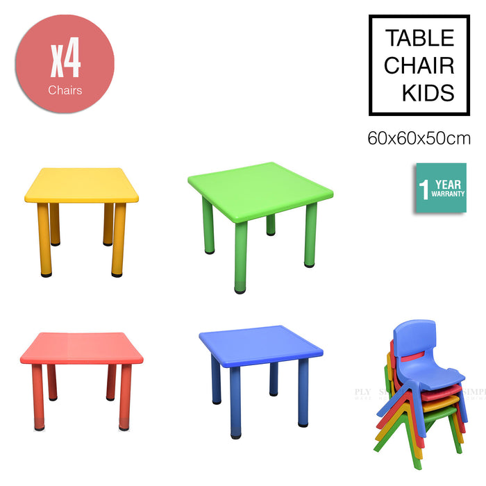 Kids Table Children 4 Chairs Plastic Activity Set Play Outdoor Large Red 60x60cm