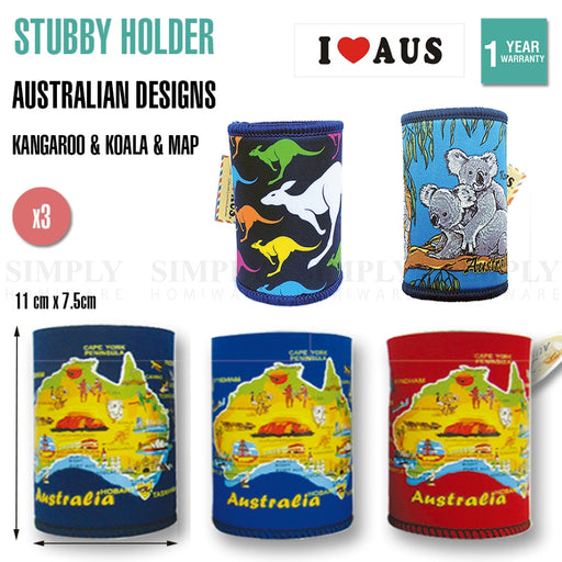 3x Stubby Holder Australian Souvenirs Stubby Can Beer Bottle Drink Cooler Gift - Simply Homeware