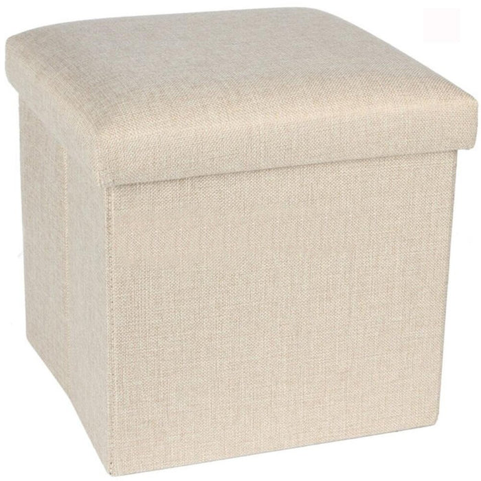 Folding Ottoman Storage Cube Footstool Stool Blanket Box Pouf Faux Leather Linen