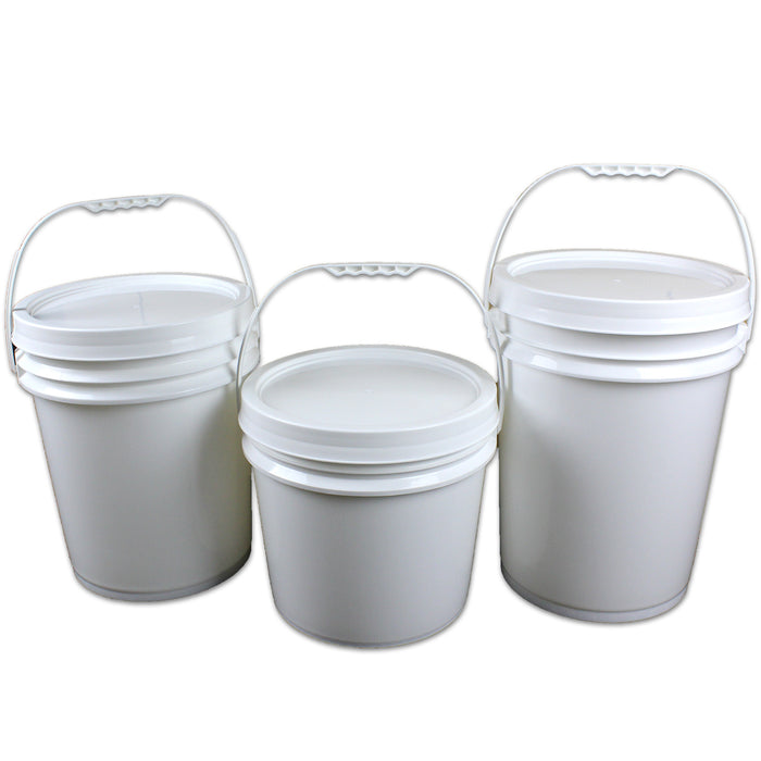 Pail Plastic Bucket with Lid Buckets Food Grade White 5L 10L 15L 20L Handle Bulk - Simply Homeware